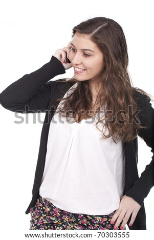a beautiful woman smiling and calling on the phone - stock photo