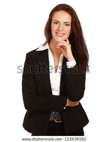 A beautiful woman standing with her arms folded, isolated on white background - stock photo