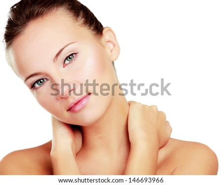 A beautiful woman touching her neck, portrait isolated on white background - stock photo