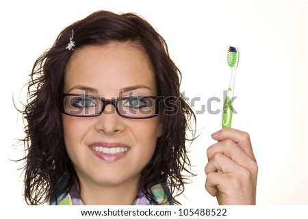 a beautiful woman with perfect teeth - stock photo