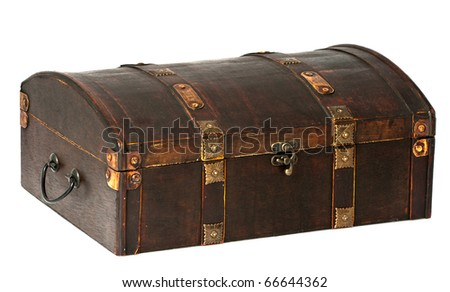 A beautiful wooden chest with golden stripes.