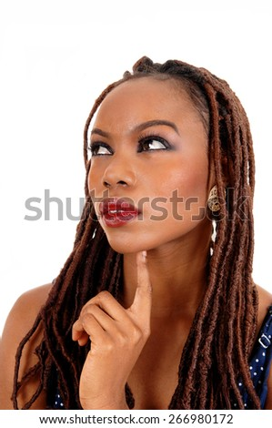 A beautiful young African American woman with long braided brown hair,