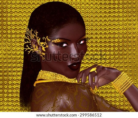 A beautiful young African woman wearing gold jewelry against a gold abstract background. A unique digital art creation of fashion and beauty in a vogue pose. - stock photo