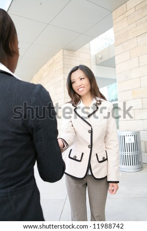 A beautiful young asian business woman shaking hands - stock photo
