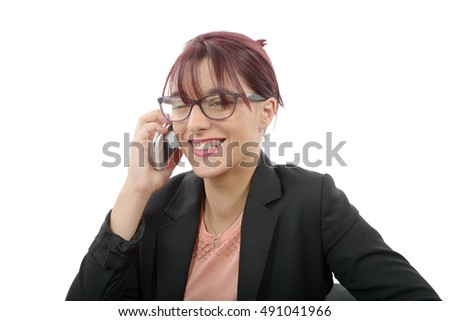 a beautiful young business woman on phone