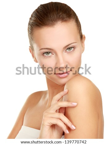 A beautiful young woman , isolated on white, closeup - stock photo