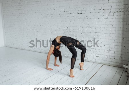 young asian female doing outdoor ballet stock photo