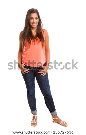 A beautiful young woman posing isolated - stock photo