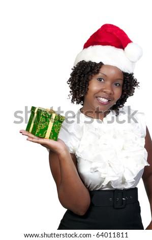 A beautiful young woman wearing a Santa hat - stock photo