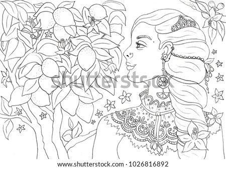 Beautiful Young Woman Lemon Tree Coloring Stock Illustration ...