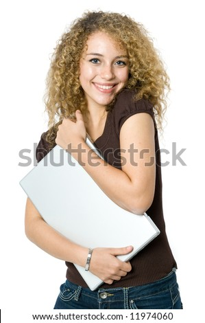 A beautiful young women hugging her portable computer - stock photo