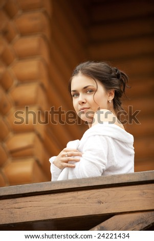 A  beautiful young women in white blouse - stock photo