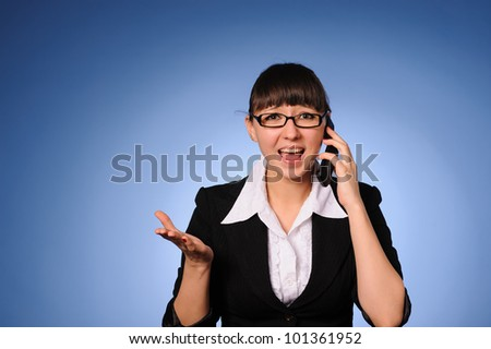 A beauty business woman calling by cell phone - stock photo