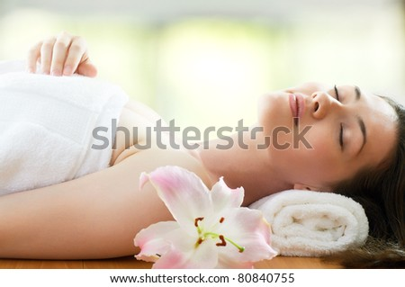 a beauty woman getting spa - stock photo