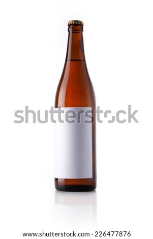 A beer glass bottle with liquor with blank label reflective bottom isolated white. - stock photo