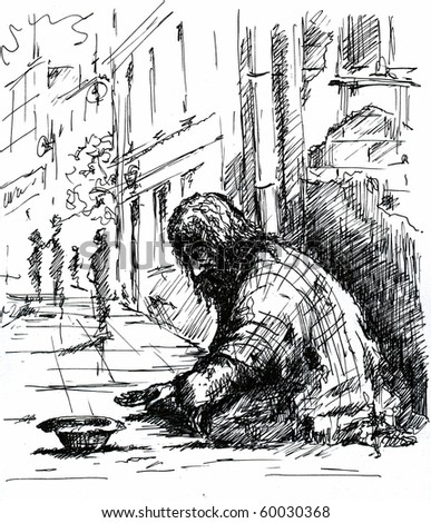 A beggar on the street.Picture I have created with pen - stock photo