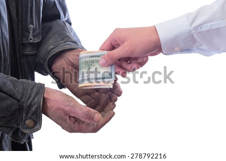 A beggar receiving money from a kind man. Isolated on white background - stock photo
