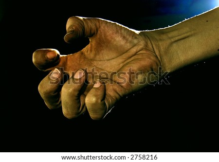 A beggars hand. - stock photo