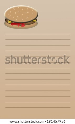 A beige colored, lined notebook page with a colorful cheeseburger on top.  Use for shopping list, etc; size is suitable to make a 5.25 x 8.25 inch note pad - typical scratch pad - stock photo
