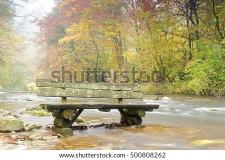 A bench in a river