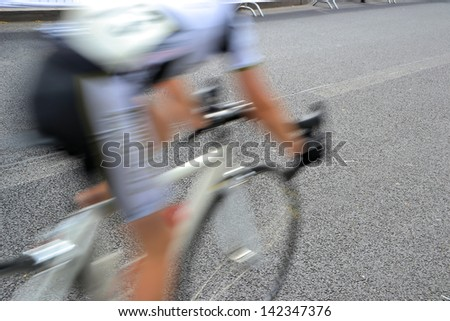 a bicycle race through the streets of Berlin - stock photo
