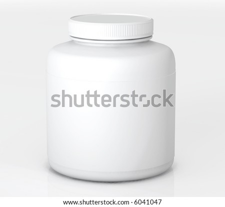 A Big Bottle of prescription drugs on white surface with soft shadow