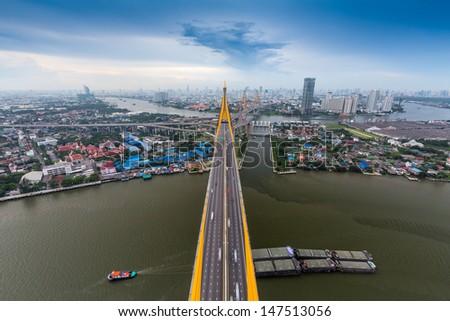 a big bridge at bangkok,thailand.  - stock photo