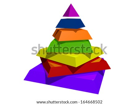 a big colorfull pyramid with seperated stages - stock photo