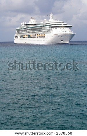 A big Cruise ship parked in the water - stock photo