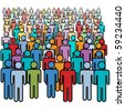 A big diverse crowd of colorful social media stick figure people. - stock vector