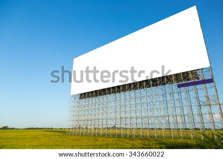 A big empty advertisement board in rice field in Thailand.