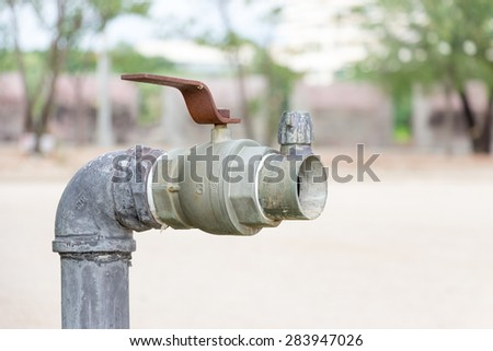 A big faucet without rubber tube - stock photo