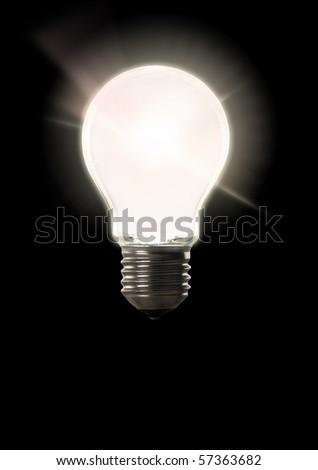 A big lighting bulb on black backround - stock photo