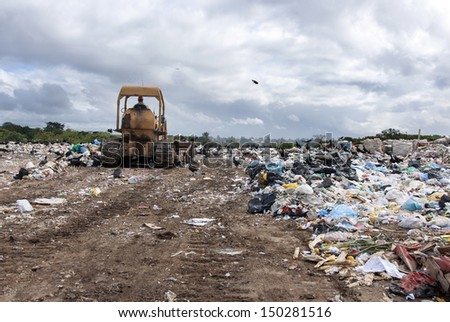 A big municipal landfill for household waste - stock photo