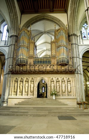 A big organ from Rochester cathedral, Kent, UK.