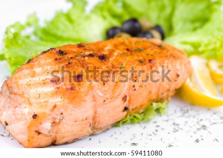 a big piece of grilled salmon, macro