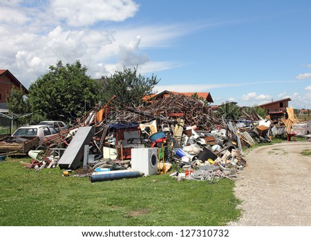 A big pile of all the different kinds of scrap iron, ready for recycling - stock photo