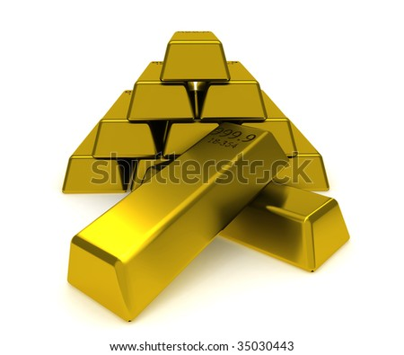 A big pile of gold blocks isolated on white - stock photo