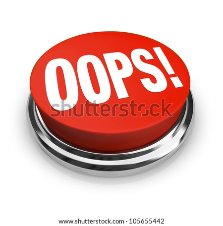 A big red button with the word Oops to press and get customer support or service or to fix or correct an error, mistake, problem or gaffe you have made - stock photo