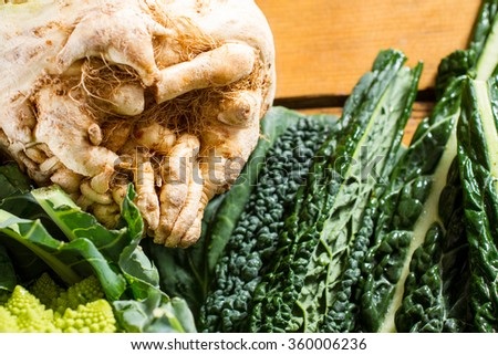 A big swede, vegetable from the Brassicaceae family, with black cabbage leaves and Romanesco cauliflower in the frame. - stock photo