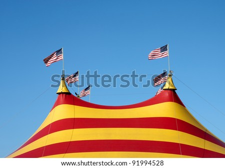 A big top with five American Flags - stock photo