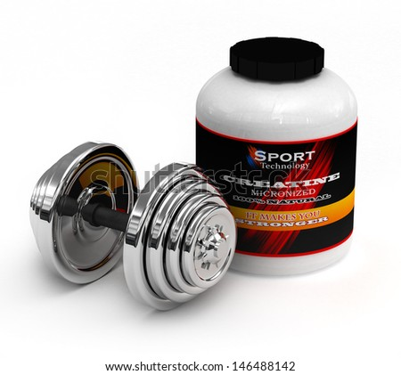 A big tub of Creatine micronized for body building Isolate on wh - stock photo