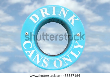 a bin sign for recycling drink cans only with cloudy background - stock photo