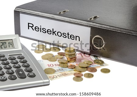 A Binder labeled wit the word reisekosten (German  travel expenses), calculator and european currency isolated on white background - stock photo