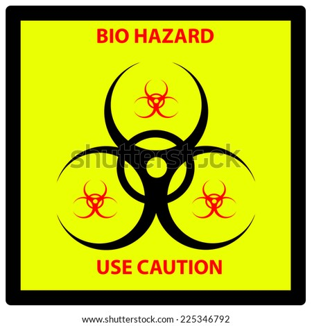 A Bio hazard sign using the international bio hazard symbol isolated on white - stock photo