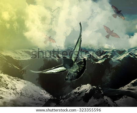 a bird, pigeon flying over snowy mountains. on the subject of power, holy spirit and human soul. digital photo collage - stock photo
