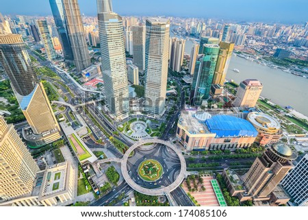 a bird's eye view of shanghai lujiazui financial center in the afternoon, China  - stock photo