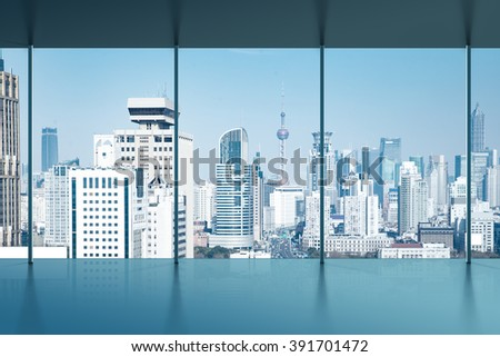 A bird's eye view of the city view outside the window - stock photo