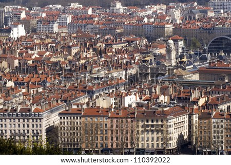 A bird's eye view of the French city of Lyon with the city hall on place des Terreaux. - stock photo