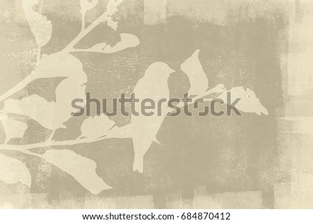 A bird sitting on a leafy branch. Both are silhouetted on a yellow and beige grunge background.